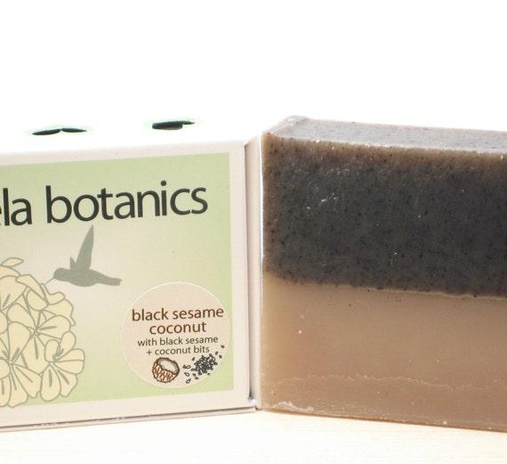 Black Sesame Coconut Soap - Botanics Body Soap with Ground Sesame and Coconut