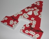 Hanging Nursery Letter A in Cherry Blossom with White Painted Edges