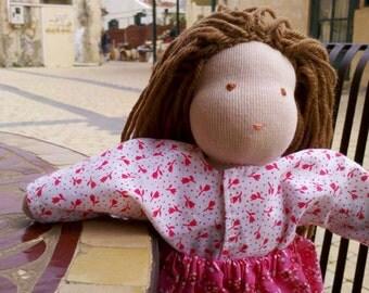 Waldorf Doll of a girl, handmade dolls, 10 inch doll, dressable doll, dolls dress, dolls costume, soft cute doll, pink doll, unique dolls