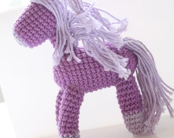 Crochet amigurumi horse, handmade doll, pony miniature, Purple Horse, crochet animal, pony miniature, handknit horse, horse baby shower, fun