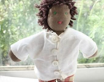 Chocolate Waldorf Doll, 8 inch Steiner Doll, Waldorf Boy, handmade doll dress, anthroposophy doll in white shirt, afro-american, african