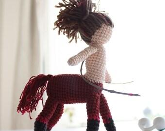 Crocheted Amigurumi Doll, Crochet Sagittarius Zodiac, Centaur Self standing toy, Handmade Mythology miniature, OOAK figurine, archer, baby