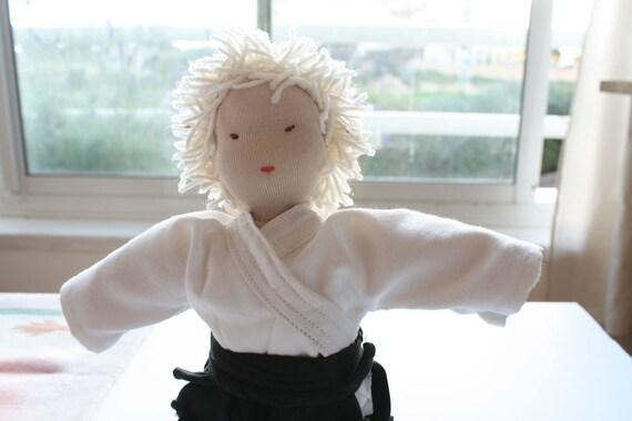 "Japanese Waldorf Doll Boy, 12"" inch Waldorf  Doll, Ai Ki Do, Doll dress, kimono, Martial Arts Sensei, Waldorf Education, pretend play"
