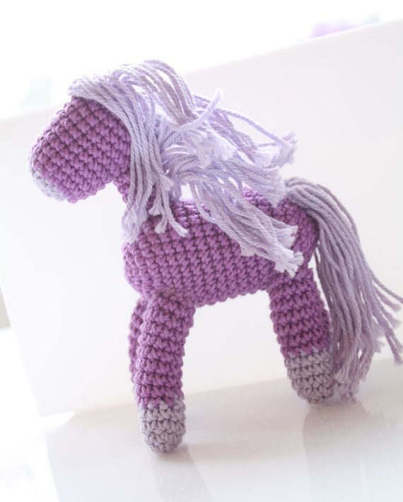 Amigurumi Mini Pony : Crochet amigurumi horse handmade doll pony miniature Purple
