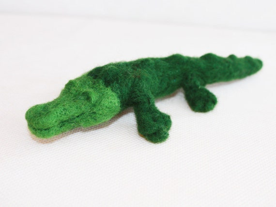 Needle felted Crocodile, Wool felted Waldorf toy, Emerald soft sculpture, green toy, ooak miniature