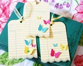Vintage Library Card Tags w/ Butterflys