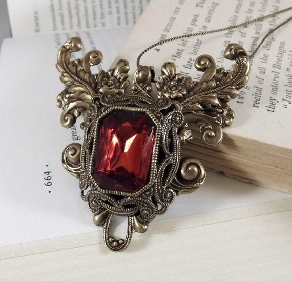 Briar Rose handmade aged brass vintage topaz swarovski crystal fantasy fairytale necklace