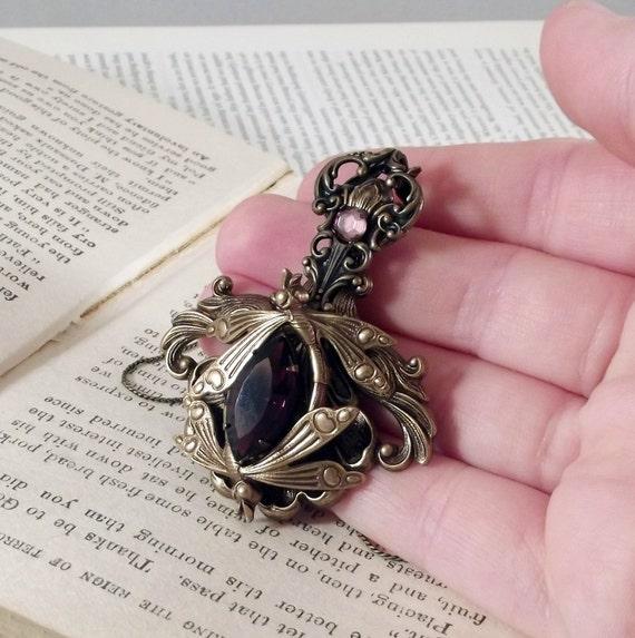 Holiday SALE  Sprite's Favorite handmade aged brass dragonfly dark amethyst crystal storybook fairytale fantasy necklace