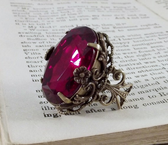 The Rose of Avalon handmade aged brass filigree rose pink fantasy bridal prom fairytale statement cocktail ring