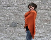 Breezy Orange Mango Eco Friendly Shawl - Gift for her - Vegan handmade knitting