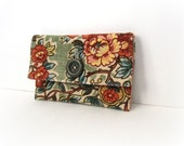 Small Sage Green Garden Velvet Button Pouch