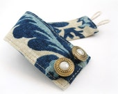 Indigo Fabric Cuff Bracelet with Vintage Buttons