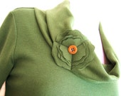 Olive Green Flower Turtleneck Top - Bamboo and Cotton Eco Friendly Fashion - On sale