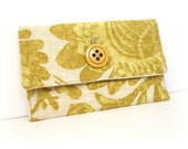 Mustard and Linen Button Pouch for cosmetic, wallet or gadget - On sale