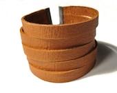 Orange Rust Leather Fashion Cuff Bracelet - with adjustable gunmetal chain - Eco friendly repurposed leather