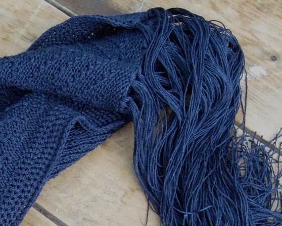 Navy blue shawl fine vegan knitting accessorie made from bamboo