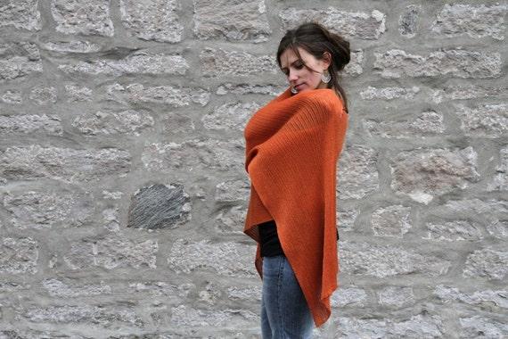 Breezy Orange Mango Eco Friendly Shawl - Gift for her - Vegan handmade knitting