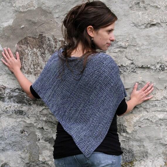 Purple Handmade Bamboo Poncho - Periwinkle Shades -  Fine Knit