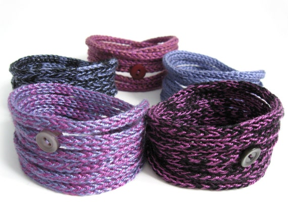 Purple Knitted Cord Bracelets - Set of five in Funky Shades Knit Jewelry - On sale LAST SET
