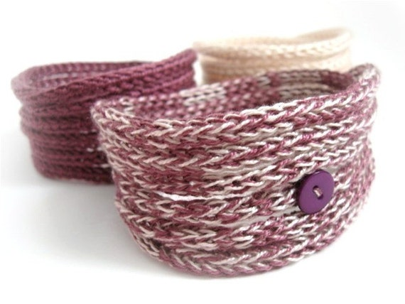 Knitted Cord Bracelets -Set of three in Bordeaux Pink Shades - On sale