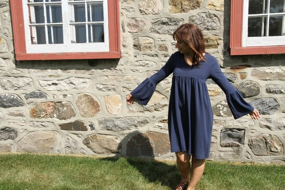 Tunic or Dress in Navy Blue Organic Soy and Cotton Stretch with long bell sleeves - Small - On sale - Black Friday Etsy - Cyber Monday Etsy