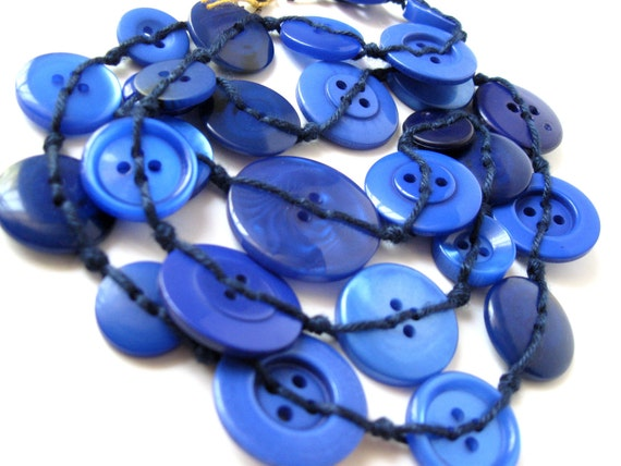 Cobalt Blue Button Necklace OOAK Jewelry