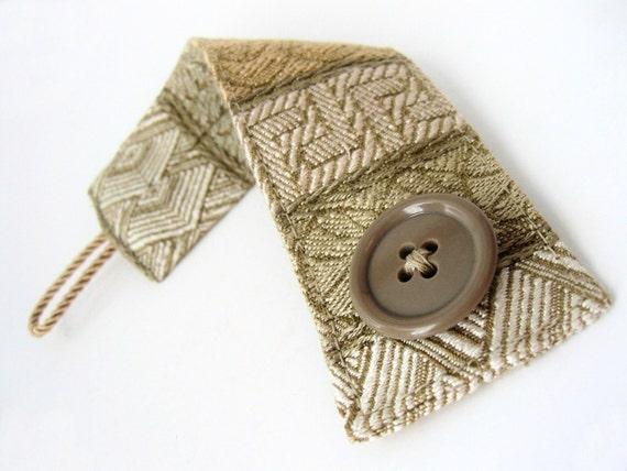 Damask Geometric Fabric Cuff Bracelet with Buttons - geometric beige and gold fiber jewelry