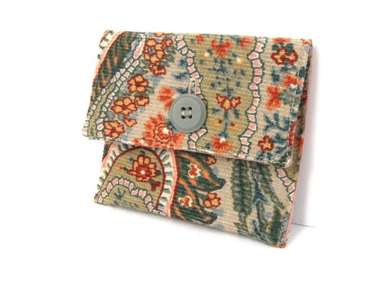 Mini Sage Green Paisley Velvet Button Pouch - On sale