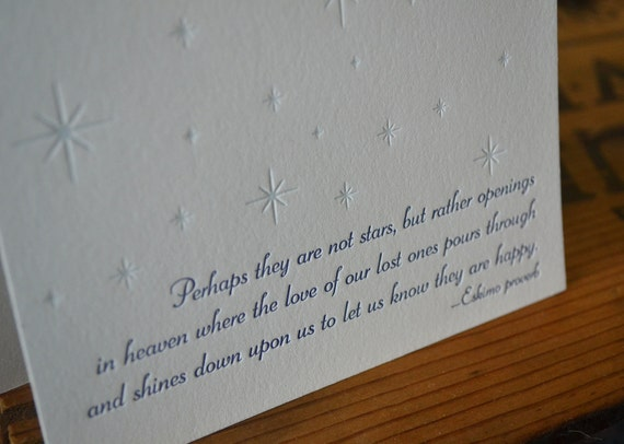 Letterpress sympathy card with Eskimo proverb - two-color letterpress