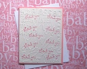 Handmade Stamped Embossed Baby Girl Pink Thank You Greeting Cards-Baby Shower-Set of 6