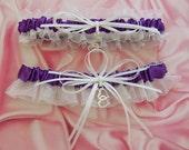 Linked Hearts Charm Bridal Keepsake and Toss Garter Set, Wedding Bridal Accessories, Custom Colors