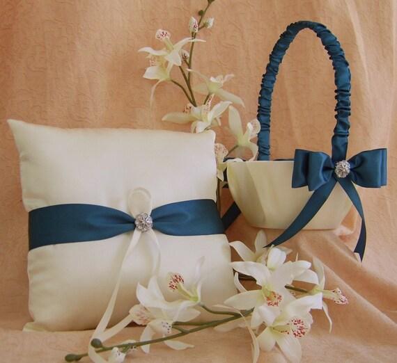 teal wedding color flower girl basket and ring bearer pillow. Black Bedroom Furniture Sets. Home Design Ideas