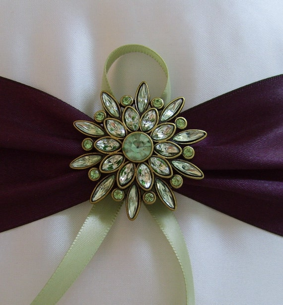 Eggplant And Sage Green Wedding Colors Ring Bearer Pillow