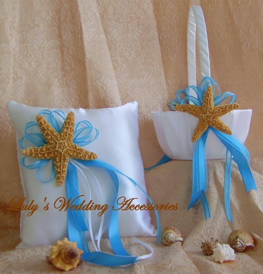 beach wedding flower girl basket and ring bearer pillow set. Black Bedroom Furniture Sets. Home Design Ideas