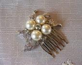 SAMANTHA Bridal rhinestone pearls brooch hair comb - ready to ship