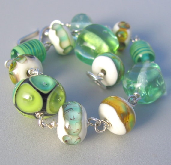 TEA - bracelet of handmade lampwork, sterling silver wire