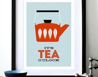 Cathrineholm poster print Mid Century Modern home kitchen art tea coffee - It's Tea O'clock Red A3