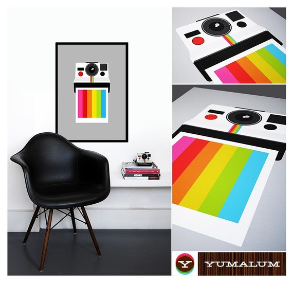 Polaroid poster print office art nursery art retro poster Eames wall decor rainbow poster photography kitchen - Instant Rainbow 50 x 70 cm