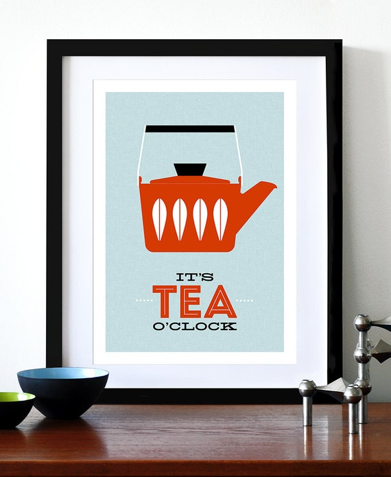 Cathrineholm poster print Mid Century Modern home kitchen art tea coffee - It's Tea O'clock Red A3