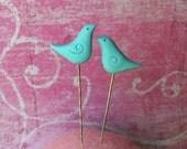 Miniature Sculpture Pair of Blue Birds Pin Toppers