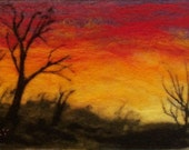 Needle Felted Wool Painting - Sunset