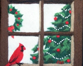 Needle Felted Painting - Christmas Cardinal