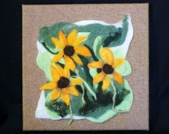 Needle Felted Painting of Brown Eyed Susans
