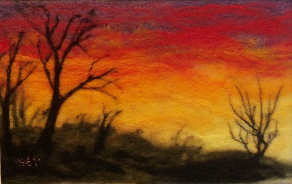 Needle Felted Wool Painting - Sunset