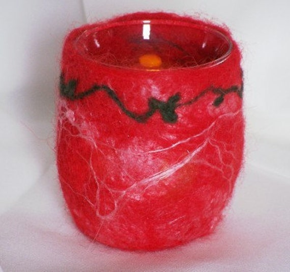 Felted Christmas Tea Light Holder - Christmas candle