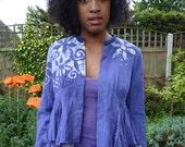 INDIGO dreams INDIAN cotton batik jacket sz Small cropped jacket flare