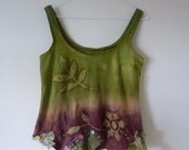 Garden batik top in greens