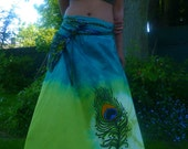 Bahia babe Long skirt tie dyed peacock feather design with detachable belt bag in greens and blue sz S to XL