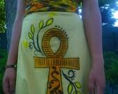 Erykah fly dress, wax print,ankh design,Empire line handpainted dress sz Small UK 10