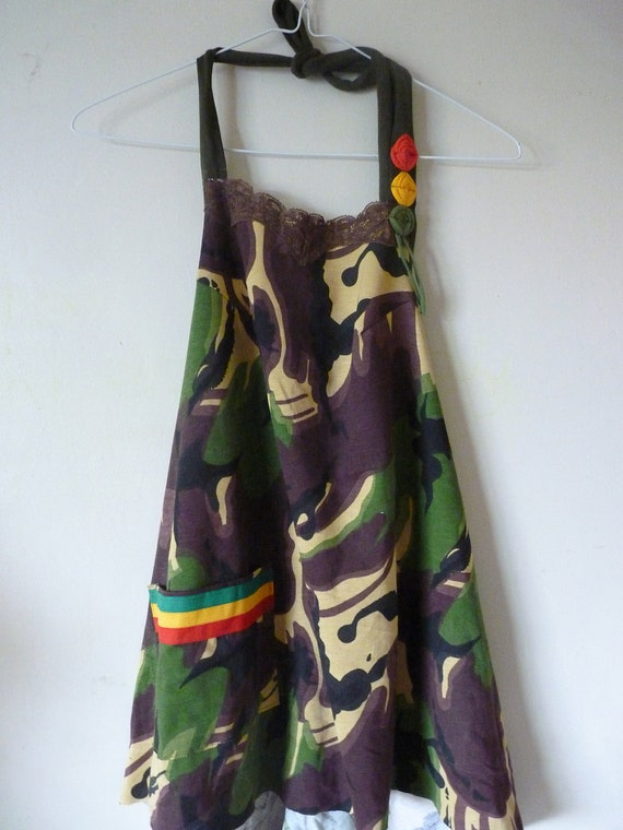 Sista Souljah halter top size small to plus size Rasta top camouflage Eco and upcycled